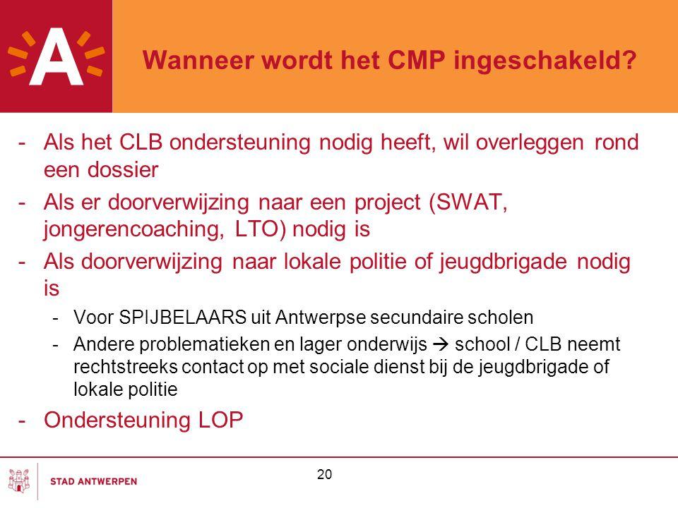 20 Wanneer wordt het CMP ingeschakeld? -Als het CLB ondersteuning nodig heeft, wil overleggen rond een dossier -Als er doorverwijzing naar een project