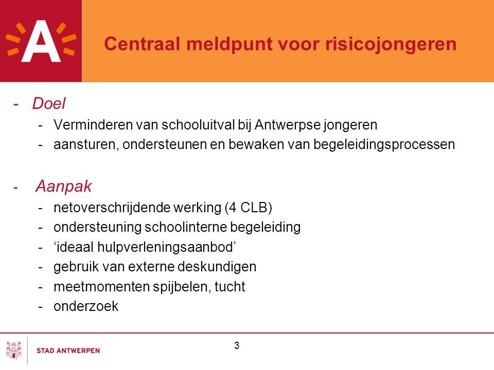 3 Centraal meldpunt voor risicojongeren -Doel -Verminderen van schooluitval bij Antwerpse jongeren -aansturen, ondersteunen en bewaken van begeleiding