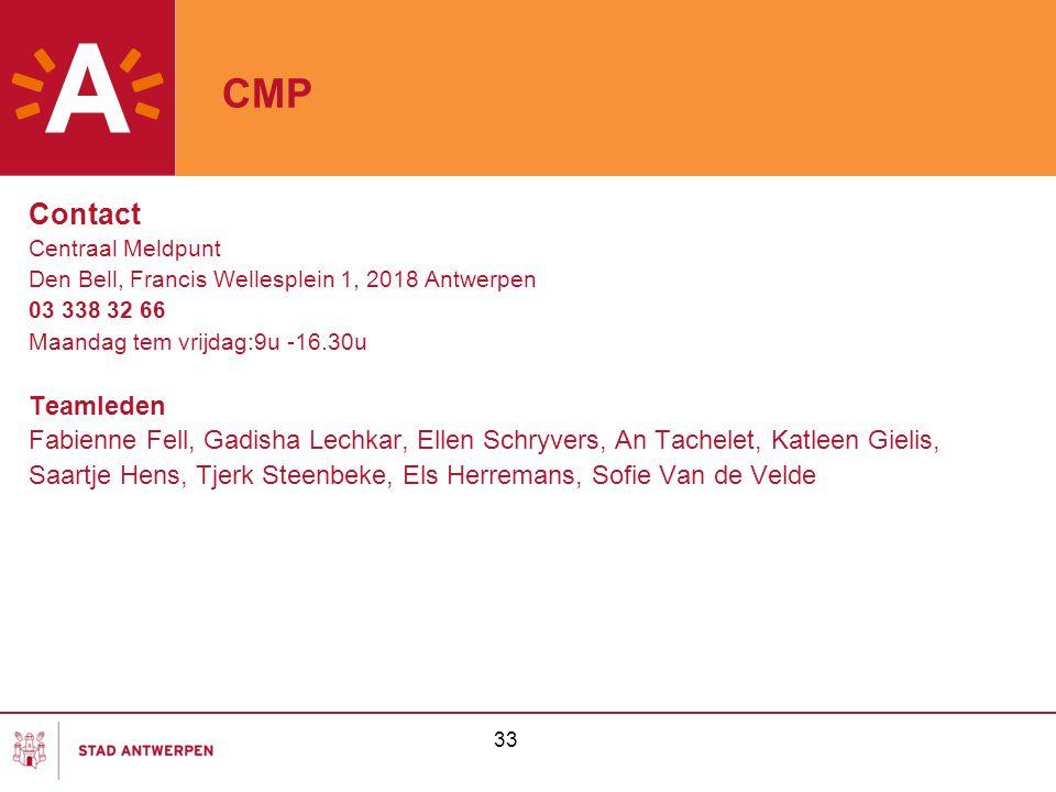 33 CMP Contact Centraal Meldpunt Den Bell, Francis Wellesplein 1, 2018 Antwerpen 03 338 32 66 Maandag tem vrijdag:9u -16.30u Teamleden Fabienne Fell,