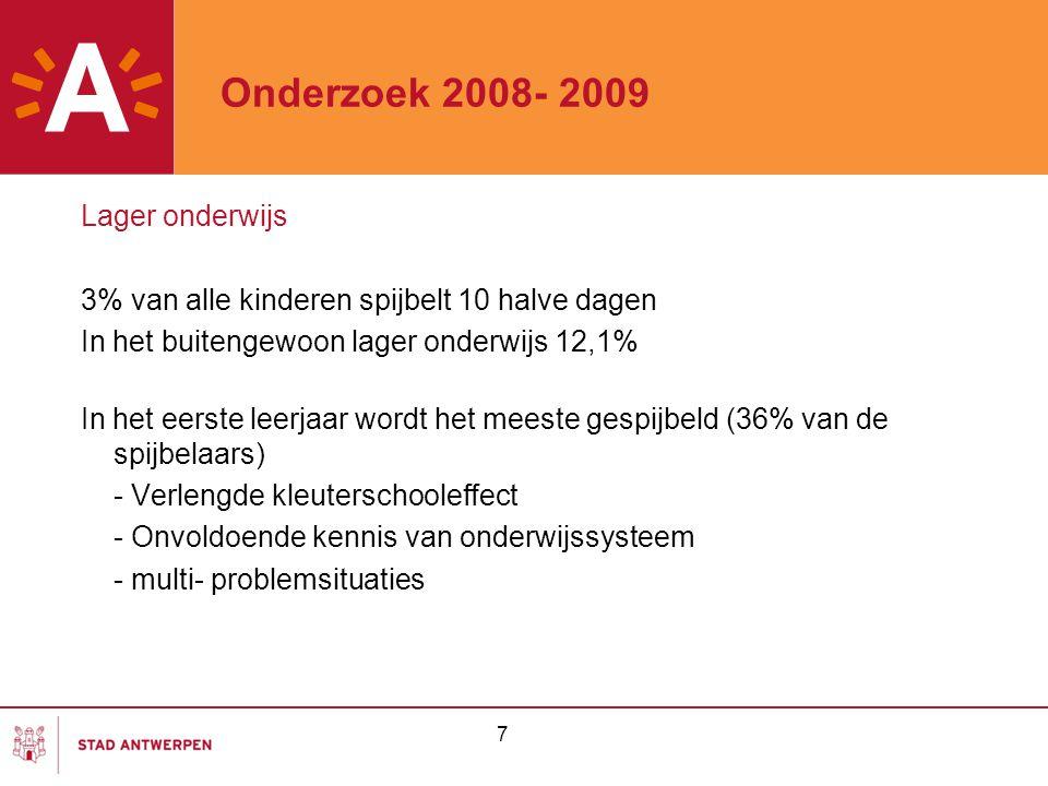 7 Onderzoek 2008- 2009 Lager onderwijs 3% van alle kinderen spijbelt 10 halve dagen In het buitengewoon lager onderwijs 12,1% In het eerste leerjaar w