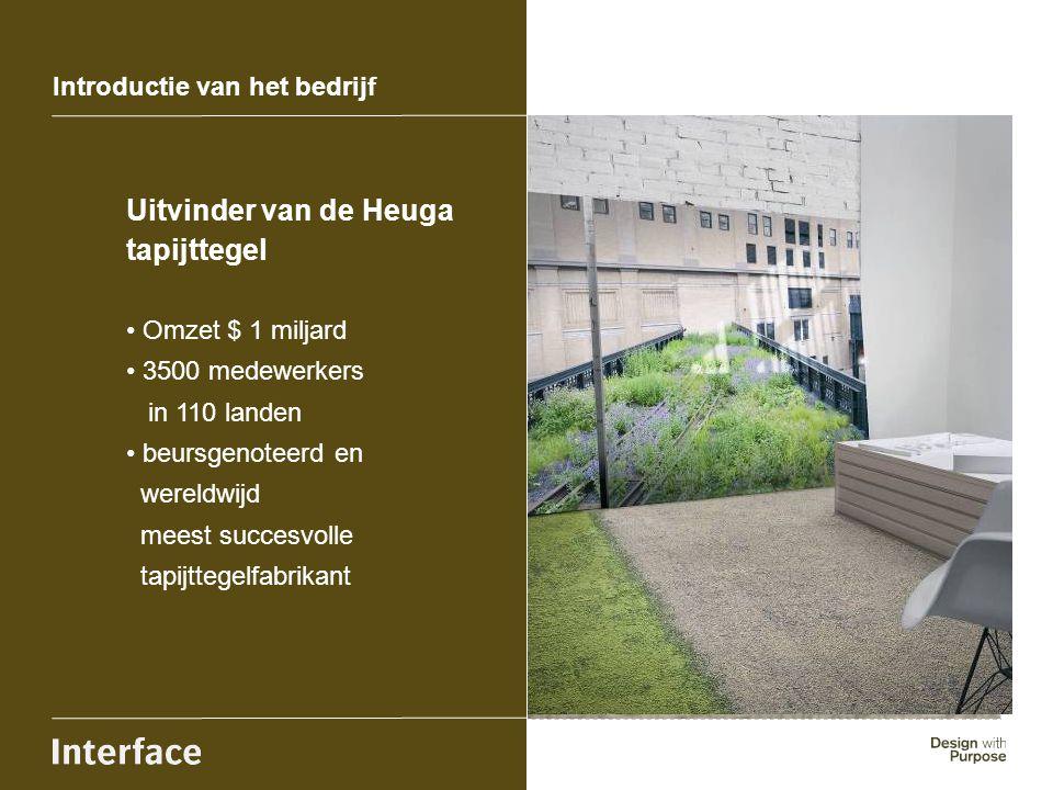 Introductie van het bedrijf Uitvinder van de Heuga tapijttegel Omzet $ 1 miljard 3500 medewerkers in 110 landen beursgenoteerd en wereldwijd meest suc
