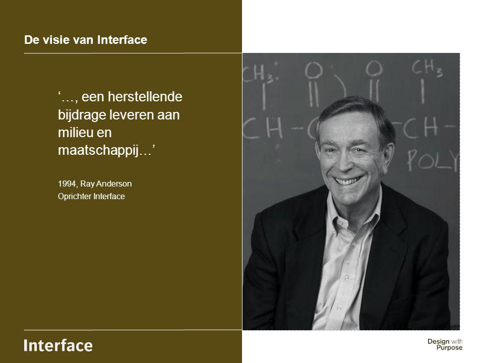 De visie van Interface '…, een herstellende bijdrage leveren aan milieu en maatschappij…' 1994, Ray Anderson Oprichter Interface