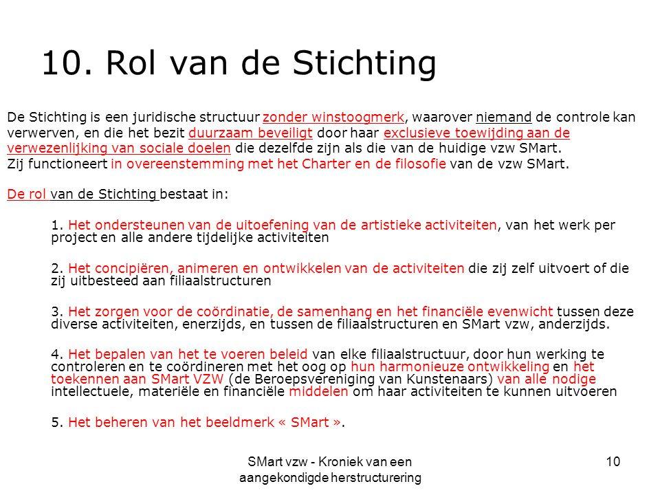 SMart vzw - Kroniek van een aangekondigde herstructurering 10 10. Rol van de Stichting De Stichting is een juridische structuur zonder winstoogmerk, w