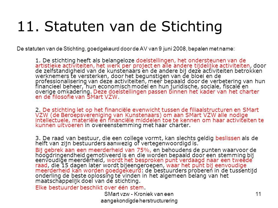 SMart vzw - Kroniek van een aangekondigde herstructurering 11 11. Statuten van de Stichting De statuten van de Stichting, goedgekeurd door de AV van 9