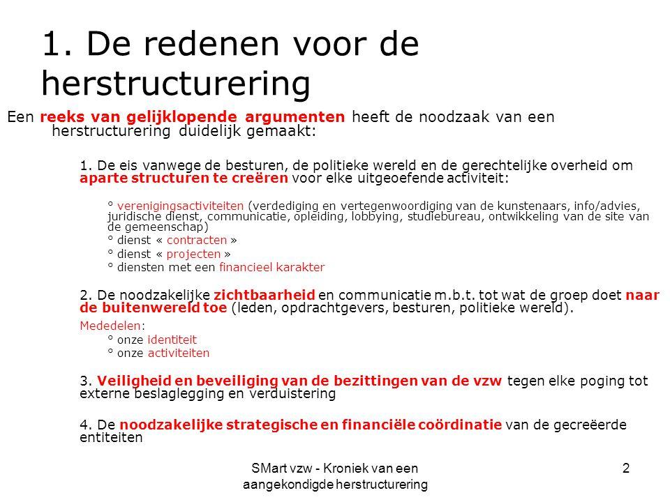 SMart vzw - Kroniek van een aangekondigde herstructurering 2 1. De redenen voor de herstructurering Een reeks van gelijklopende argumenten heeft de no