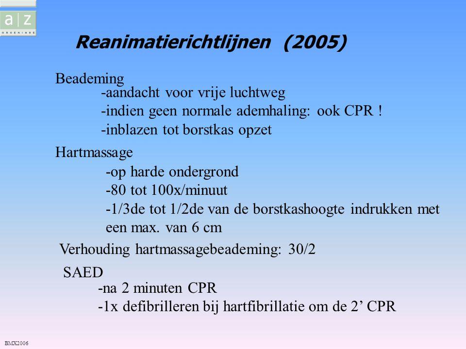 Reanimatierichtlijnen (2005) Beademing Hartmassage SAED BMX2006 -aandacht voor vrije luchtweg -indien geen normale ademhaling: ook CPR ! -inblazen tot