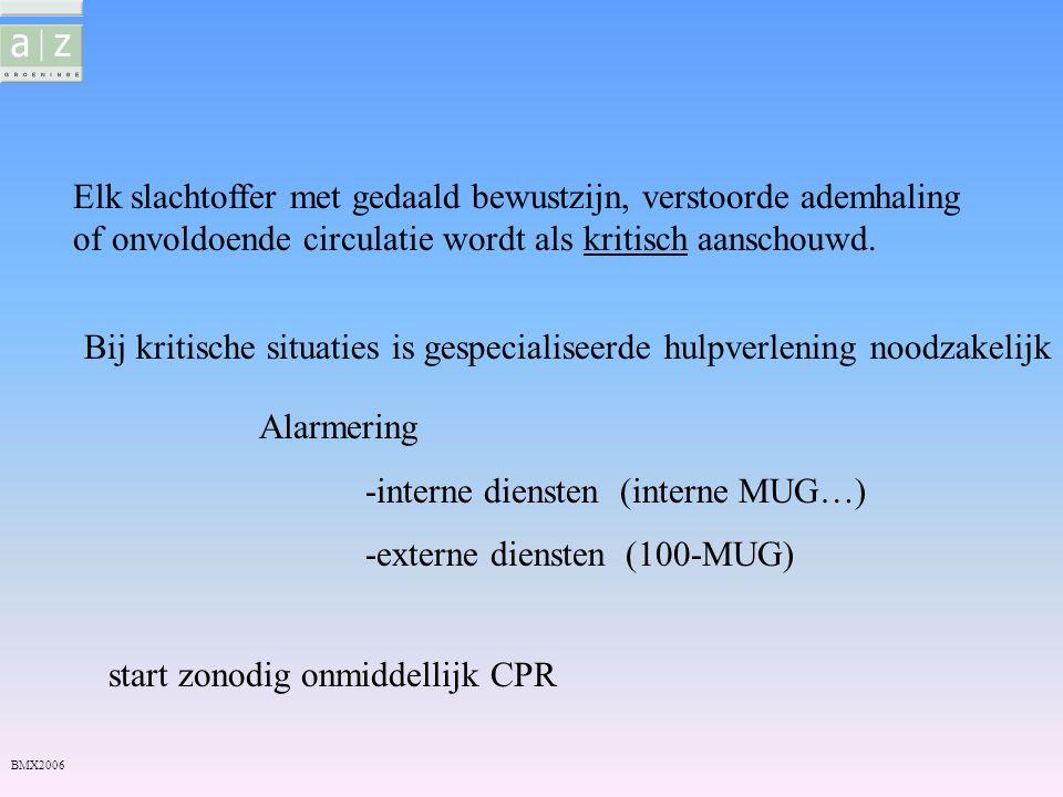 Beoordeling toestand gevaar MUG -100 veilig Eerste beoordeling patiënt B A C kritisch CPR Zuurstof Bloedstelping Halskraag… Interne MUG Zo nodig SAED,AED BMX2006