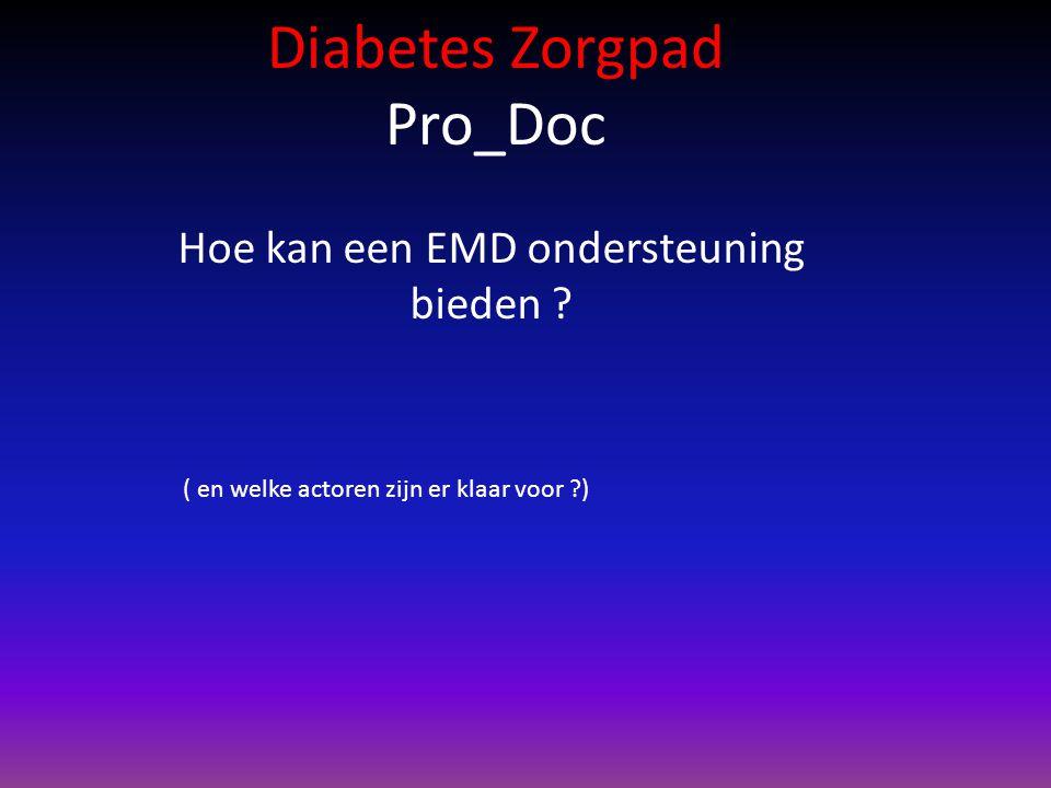 Diabetes Zorgpad Pro_Doc Hoe kan een EMD ondersteuning bieden ? ( en welke actoren zijn er klaar voor ?)