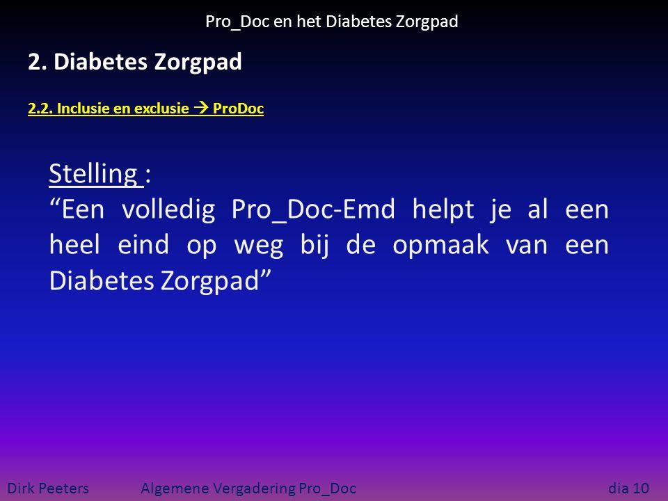 """Pro_Doc en het Diabetes Zorgpad Dirk Peeters Algemene Vergadering Pro_Doc dia 10 2. Diabetes Zorgpad 2.2. Inclusie en exclusie  ProDoc Stelling : """"Ee"""