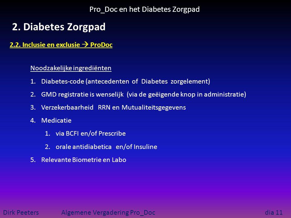 Pro_Doc en het Diabetes Zorgpad Dirk Peeters Algemene Vergadering Pro_Doc dia 11 2. Diabetes Zorgpad 2.2. Inclusie en exclusie  ProDoc Noodzakelijke