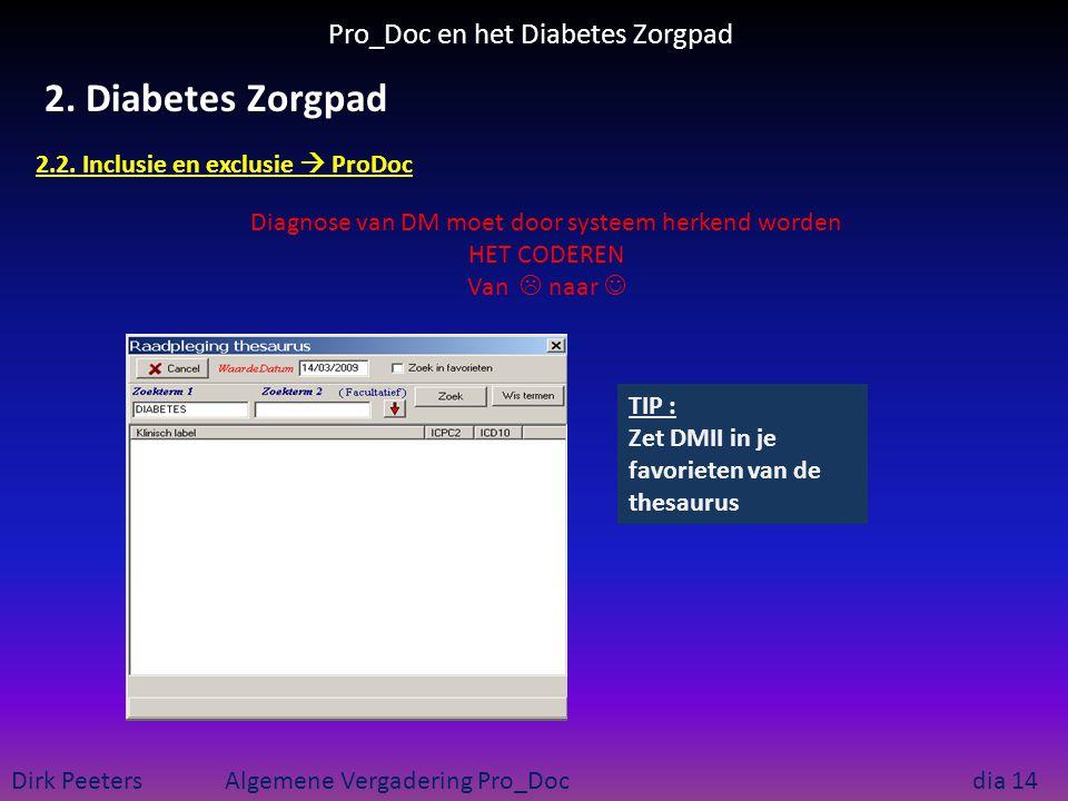 Pro_Doc en het Diabetes Zorgpad Dirk Peeters Algemene Vergadering Pro_Doc dia 14 2. Diabetes Zorgpad 2.2. Inclusie en exclusie  ProDoc Diagnose van D