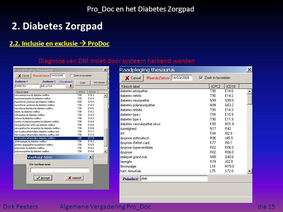Pro_Doc en het Diabetes Zorgpad Dirk Peeters Algemene Vergadering Pro_Doc dia 15 2. Diabetes Zorgpad 2.2. Inclusie en exclusie  ProDoc Diagnose van D