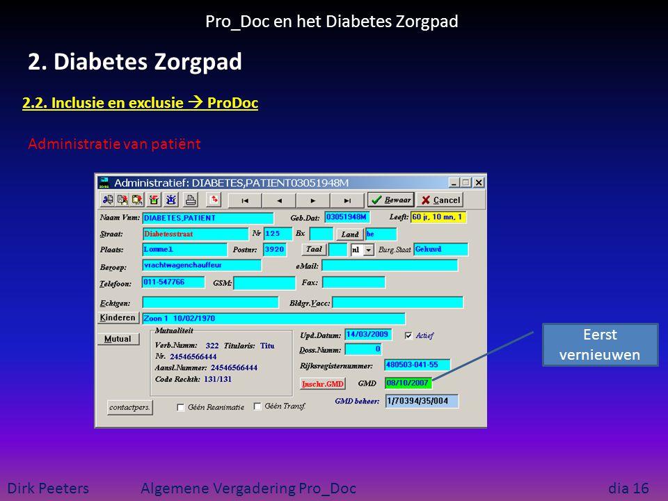Pro_Doc en het Diabetes Zorgpad Dirk Peeters Algemene Vergadering Pro_Doc dia 16 2. Diabetes Zorgpad 2.2. Inclusie en exclusie  ProDoc Administratie