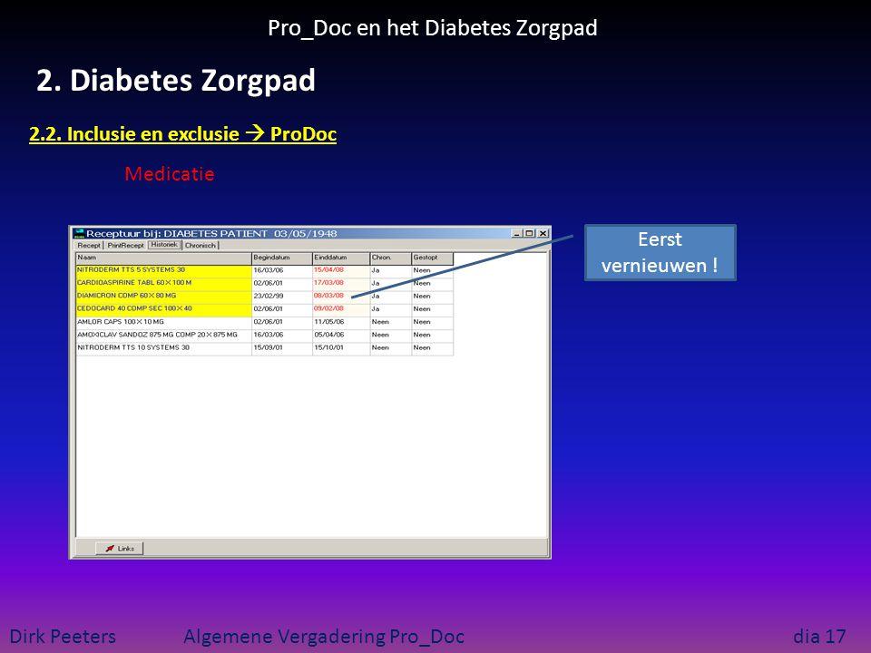 Pro_Doc en het Diabetes Zorgpad Dirk Peeters Algemene Vergadering Pro_Doc dia 17 2. Diabetes Zorgpad 2.2. Inclusie en exclusie  ProDoc Medicatie Eers