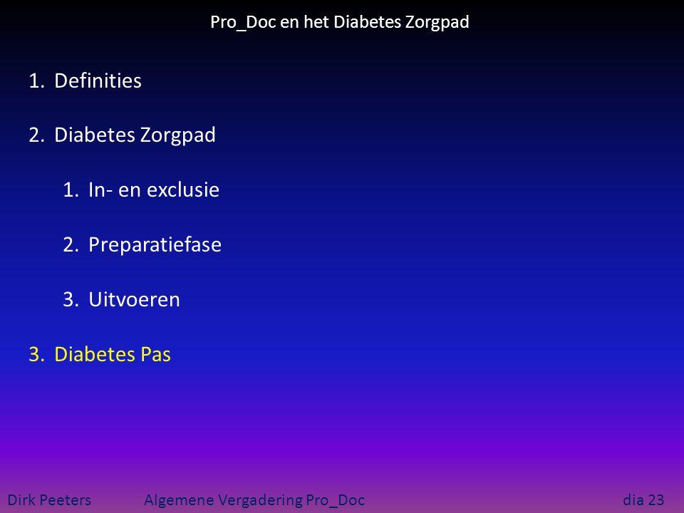 Pro_Doc en het Diabetes Zorgpad Dirk Peeters Algemene Vergadering Pro_Doc dia 23 1.Definities 2.Diabetes Zorgpad 1.In- en exclusie 2.Preparatiefase 3.
