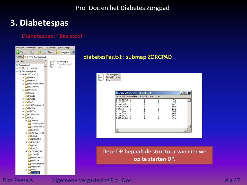 Pro_Doc en het Diabetes Zorgpad Dirk Peeters Algemene Vergadering Pro_Doc dia 27 3. Diabetespas diabetesPas.txt : submap ZORGPAD Deze DP bepaalt de st