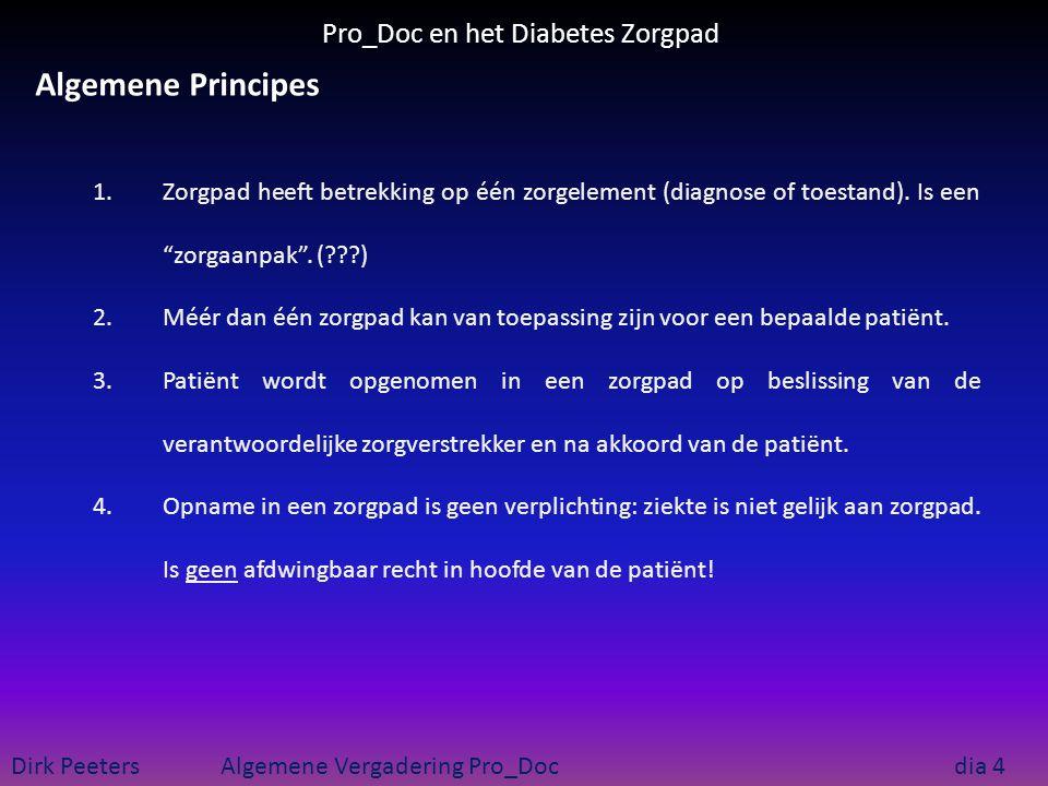 Pro_Doc en het Diabetes Zorgpad Dirk Peeters Algemene Vergadering Pro_Doc dia 5 Algemene Principes RIZIV Zp 1.Gekoppeld aan GMD 2.Opname in een RIZIV zorgpad vereist bijkomende goedkeuring door de verzekeringsinstelling.