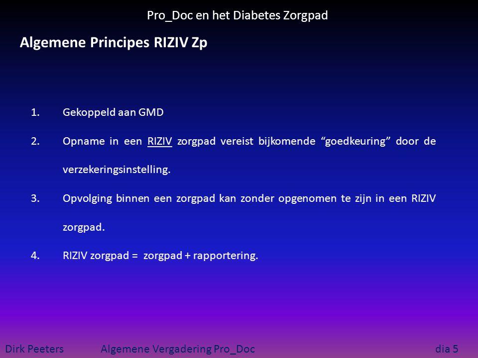Pro_Doc en het Diabetes Zorgpad Dirk Peeters Algemene Vergadering Pro_Doc dia 5 Algemene Principes RIZIV Zp 1.Gekoppeld aan GMD 2.Opname in een RIZIV