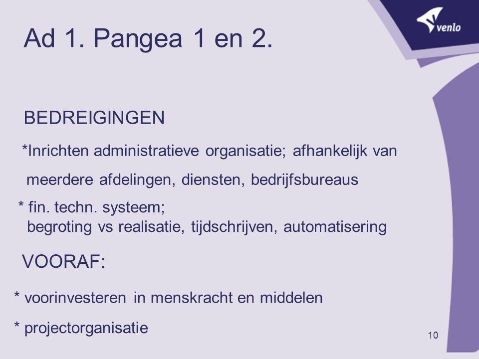 10 Ad 1. Pangea 1 en 2. BEDREIGINGEN *Inrichten administratieve organisatie; afhankelijk van meerdere afdelingen, diensten, bedrijfsbureaus * fin. tec
