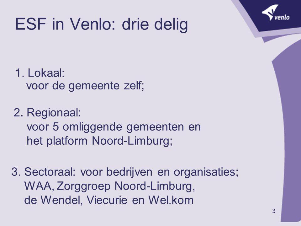 3 ESF in Venlo: drie delig 1. Lokaal: voor de gemeente zelf; 2. Regionaal: voor 5 omliggende gemeenten en het platform Noord-Limburg; 3. Sectoraal: vo