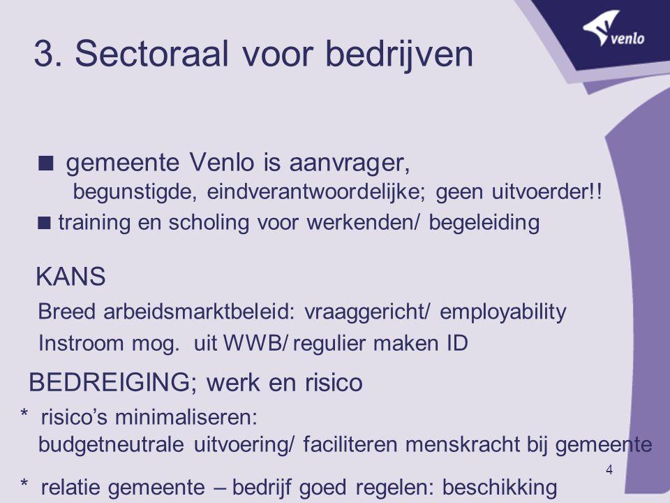 4 3. Sectoraal voor bedrijven  gemeente Venlo is aanvrager, begunstigde, eindverantwoordelijke; geen uitvoerder!!  training en scholing voor werkend