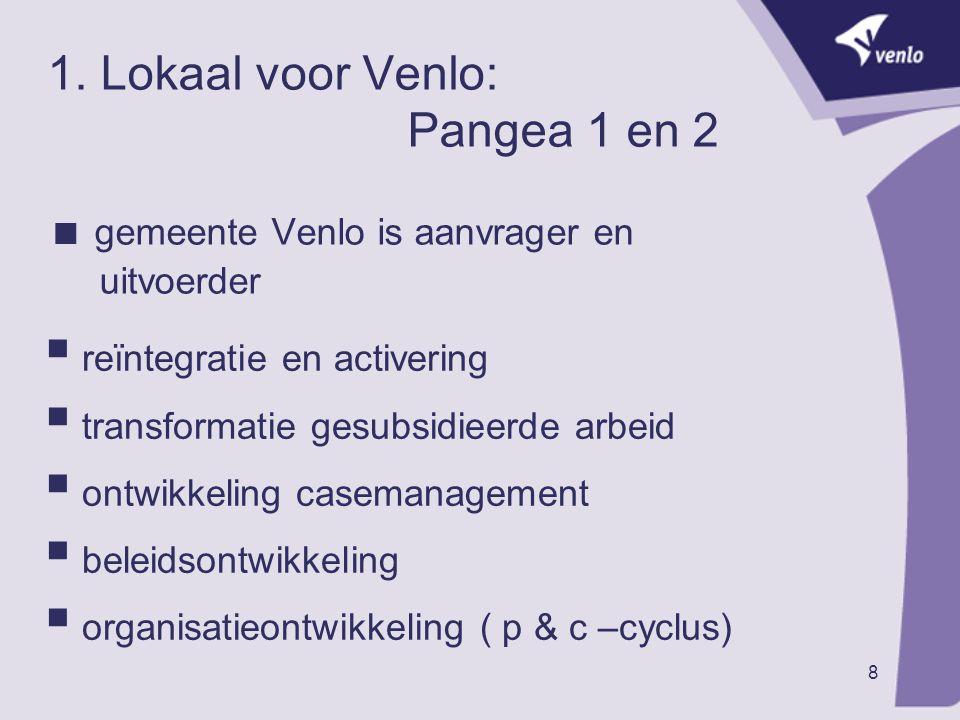 8 1. Lokaal voor Venlo: Pangea 1 en 2  gemeente Venlo is aanvrager en uitvoerder  reïntegratie en activering  transformatie gesubsidieerde arbeid 