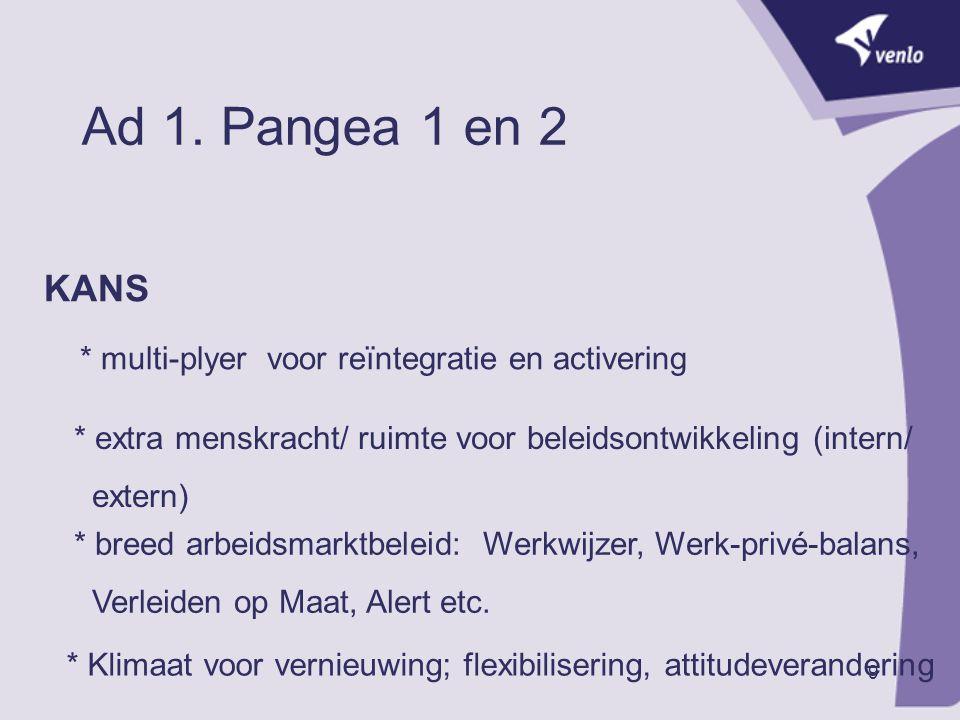 9 Ad 1. Pangea 1 en 2 KANS * multi-plyer voor reïntegratie en activering * extra menskracht/ ruimte voor beleidsontwikkeling (intern/ extern) * breed