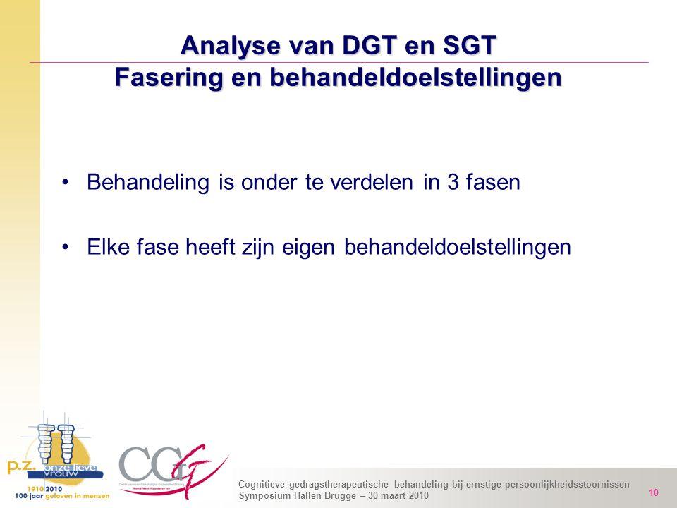 Cognitieve gedragstherapeutische behandeling bij ernstige persoonlijkheidsstoornissen Symposium Hallen Brugge – 30 maart 2010 10 Analyse van DGT en SG