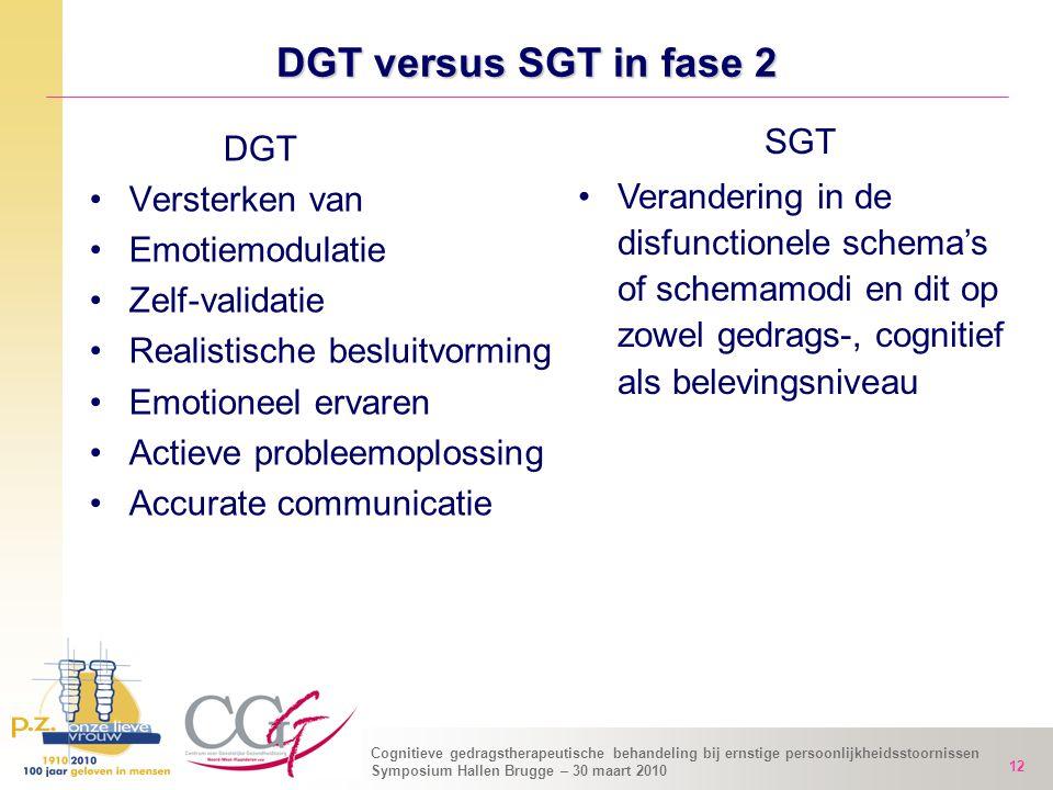 Cognitieve gedragstherapeutische behandeling bij ernstige persoonlijkheidsstoornissen Symposium Hallen Brugge – 30 maart 2010 12 DGT versus SGT in fas