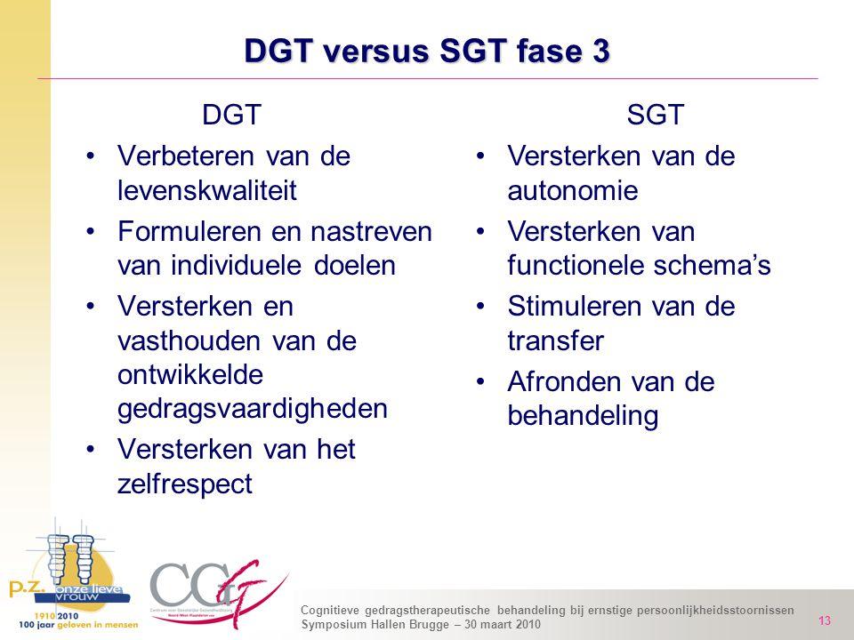 Cognitieve gedragstherapeutische behandeling bij ernstige persoonlijkheidsstoornissen Symposium Hallen Brugge – 30 maart 2010 13 DGT versus SGT fase 3