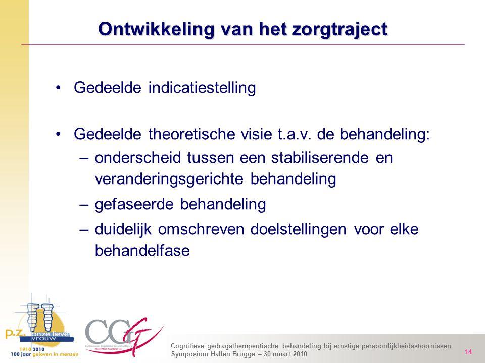 Cognitieve gedragstherapeutische behandeling bij ernstige persoonlijkheidsstoornissen Symposium Hallen Brugge – 30 maart 2010 14 Ontwikkeling van het