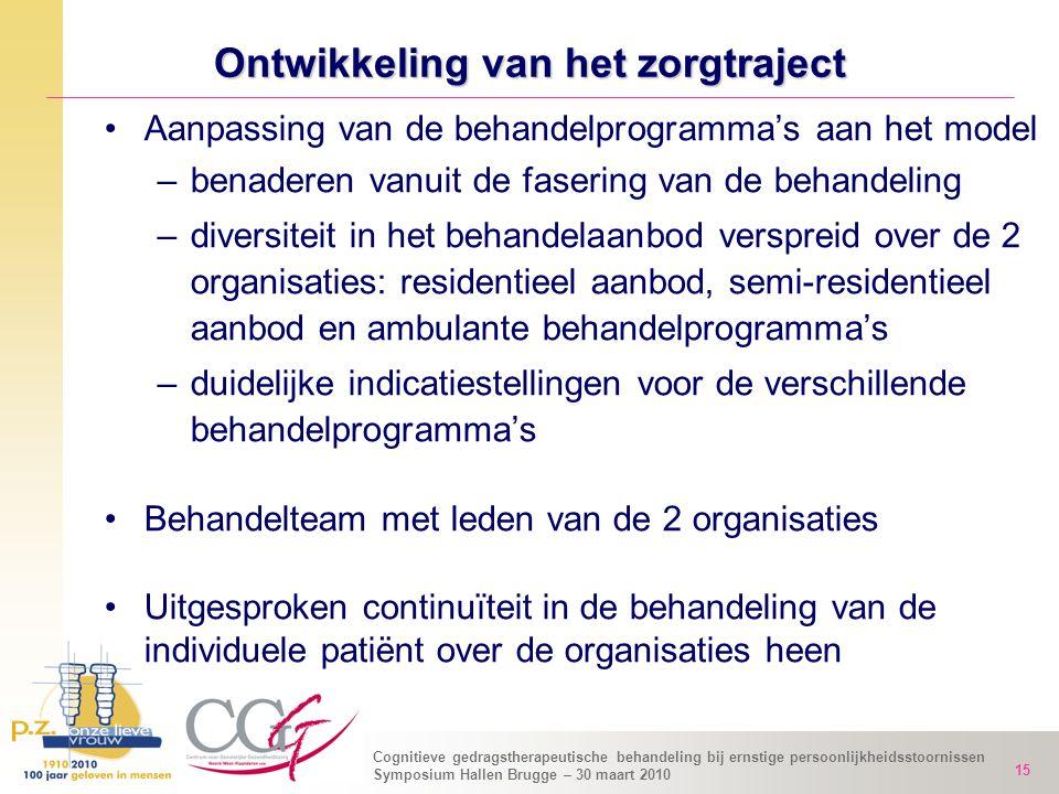 Cognitieve gedragstherapeutische behandeling bij ernstige persoonlijkheidsstoornissen Symposium Hallen Brugge – 30 maart 2010 15 Ontwikkeling van het