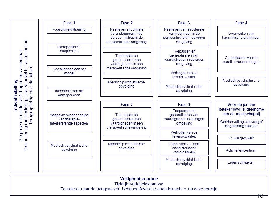 16 Fase 3 Toepassen en generaliseren van vaardigheden in de eigen omgeving Medisch psychiatrische opvolging Nastreven van structurele veranderingen in