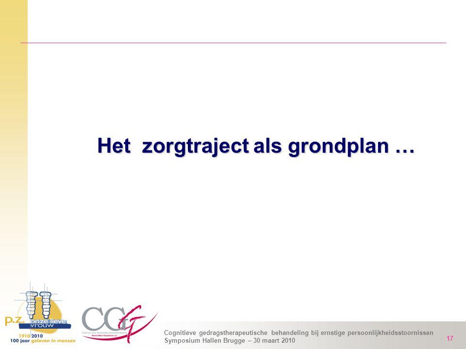Cognitieve gedragstherapeutische behandeling bij ernstige persoonlijkheidsstoornissen Symposium Hallen Brugge – 30 maart 2010 17 Het zorgtraject als g