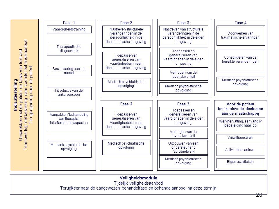 20 Fase 3 Toepassen en generaliseren van vaardigheden in de eigen omgeving Medisch psychiatrische opvolging Nastreven van structurele veranderingen in