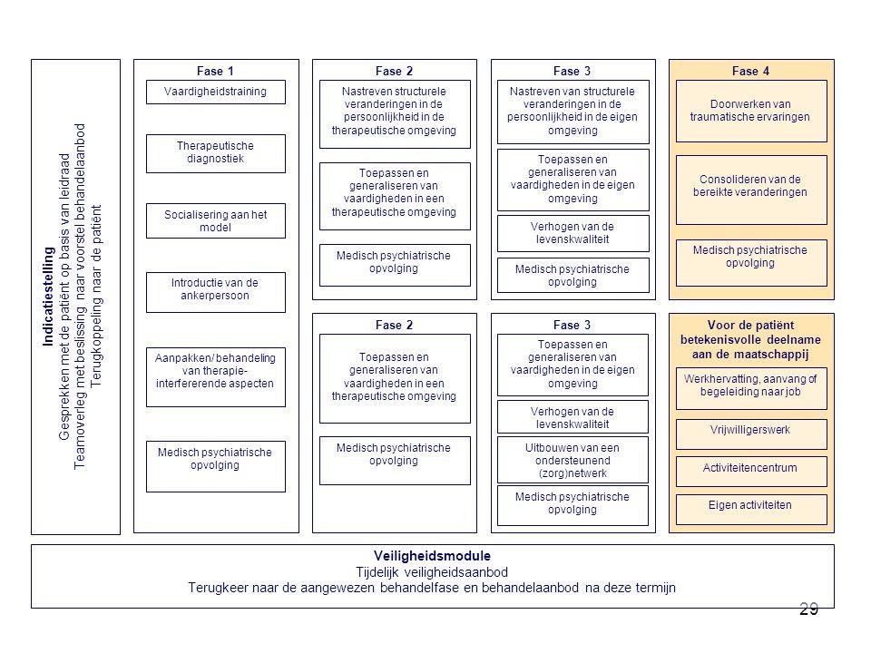 29 Fase 3 Toepassen en generaliseren van vaardigheden in de eigen omgeving Medisch psychiatrische opvolging Nastreven van structurele veranderingen in