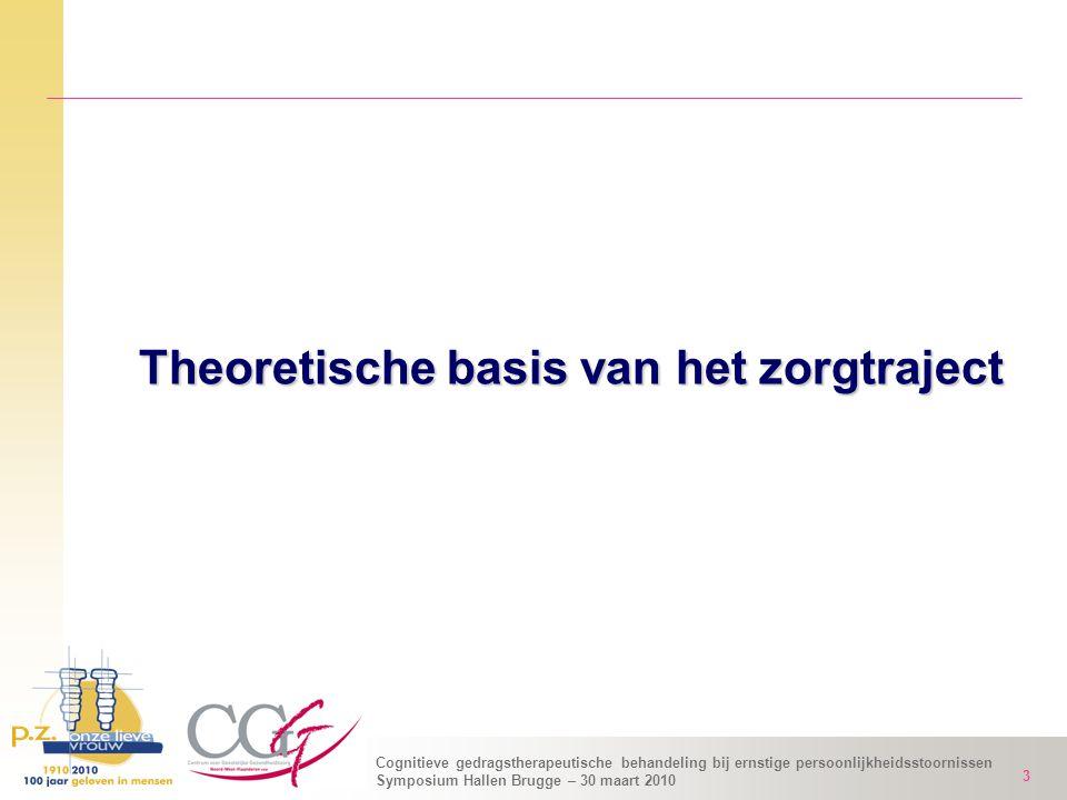Cognitieve gedragstherapeutische behandeling bij ernstige persoonlijkheidsstoornissen Symposium Hallen Brugge – 30 maart 2010 3 Theoretische basis van