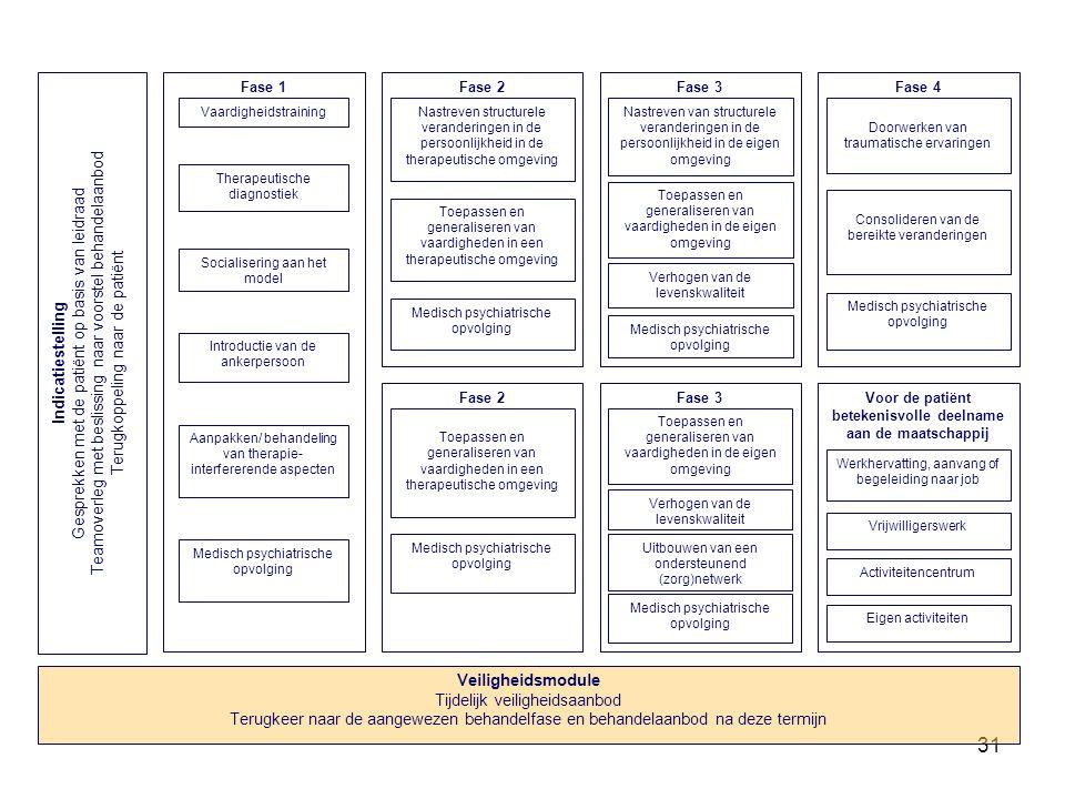 31 Fase 3 Toepassen en generaliseren van vaardigheden in de eigen omgeving Medisch psychiatrische opvolging Nastreven van structurele veranderingen in