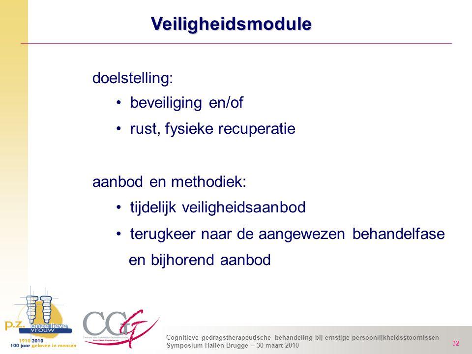 Cognitieve gedragstherapeutische behandeling bij ernstige persoonlijkheidsstoornissen Symposium Hallen Brugge – 30 maart 2010 32 Veiligheidsmodule doe