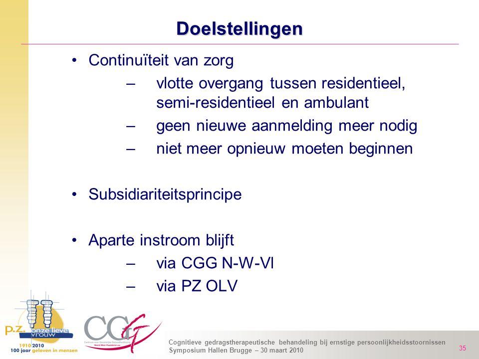 Cognitieve gedragstherapeutische behandeling bij ernstige persoonlijkheidsstoornissen Symposium Hallen Brugge – 30 maart 2010 35 Doelstellingen Contin