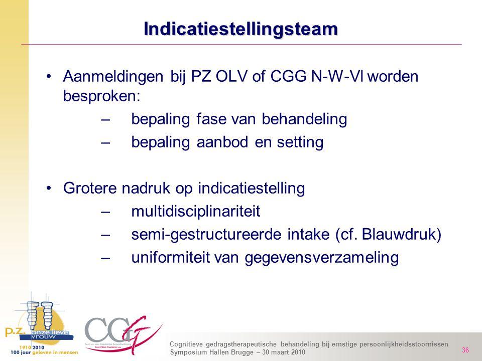 Cognitieve gedragstherapeutische behandeling bij ernstige persoonlijkheidsstoornissen Symposium Hallen Brugge – 30 maart 2010 36 Indicatiestellingstea
