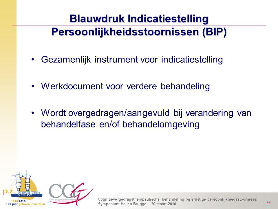 Cognitieve gedragstherapeutische behandeling bij ernstige persoonlijkheidsstoornissen Symposium Hallen Brugge – 30 maart 2010 37 Blauwdruk Indicatiest