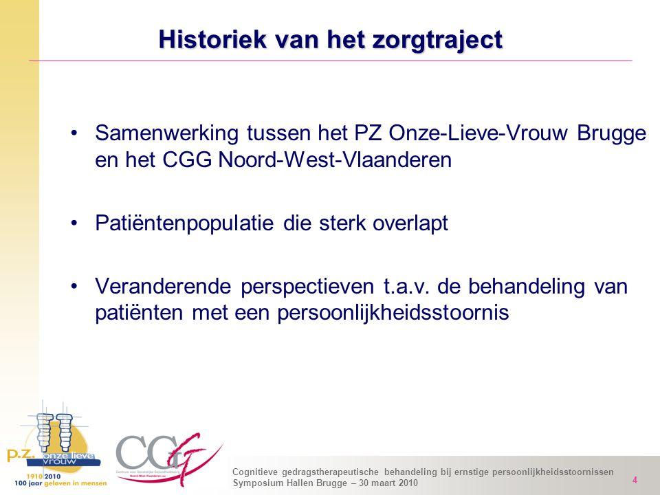 Cognitieve gedragstherapeutische behandeling bij ernstige persoonlijkheidsstoornissen Symposium Hallen Brugge – 30 maart 2010 4 Historiek van het zorg