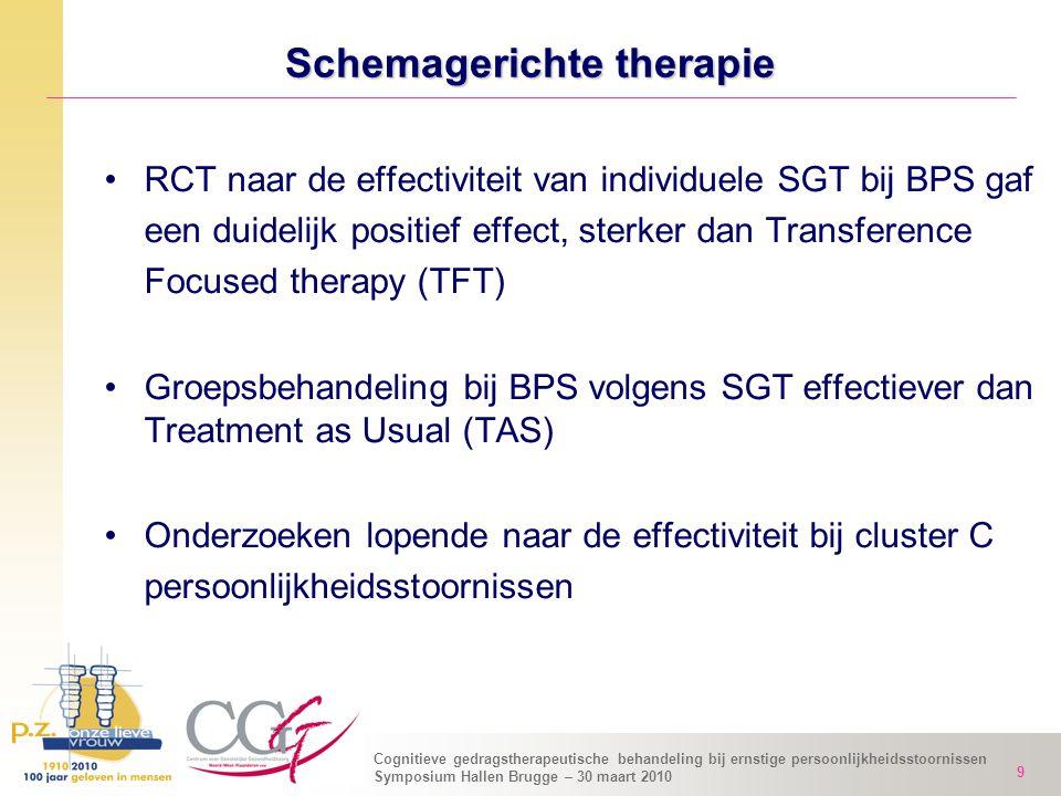 Cognitieve gedragstherapeutische behandeling bij ernstige persoonlijkheidsstoornissen Symposium Hallen Brugge – 30 maart 2010 9 Schemagerichte therapi