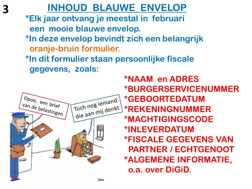 LET OP als je de op naam gestelde 'blauwe envelop' ontvangt: In de brief wordt een code vermeld, waarmee de persoonlijke, vooraf ingevulde Belastingaangifte 2013 d.m.v.