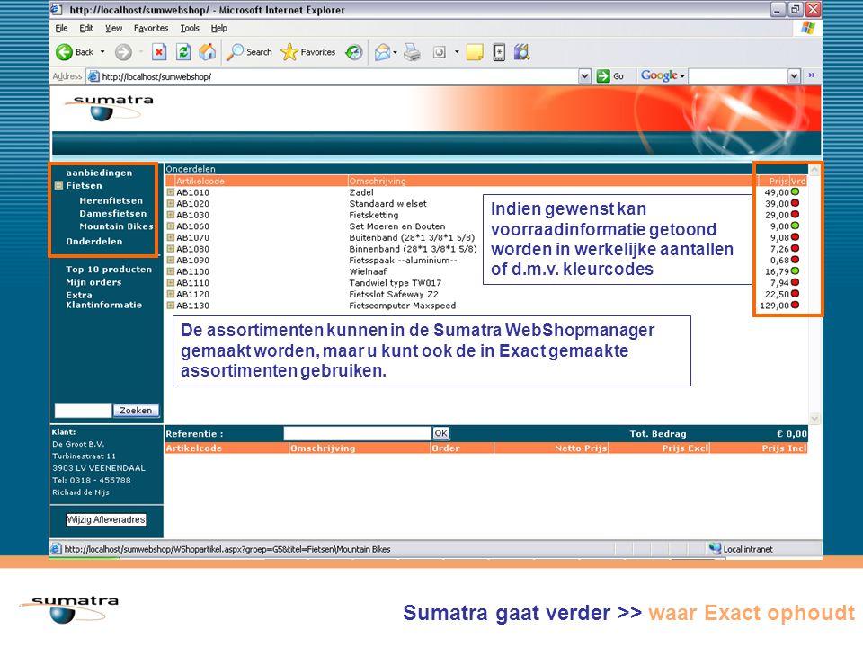 Sumatra WebShop gaat verder >> waar Exact ophoudt De assortimenten kunnen in de Sumatra WebShopmanager gemaakt worden, maar u kunt ook de in Exact gemaakte assortimenten gebruiken.