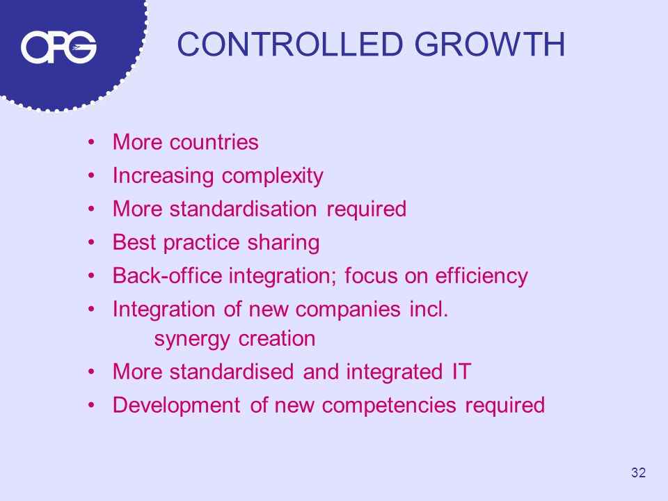 CONTROLLED GROWTH More countries Increasing complexity More standardisation required Best practice sharing Back-office integration; focus on efficiency Integration of new companies incl.