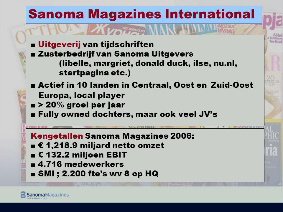 INTERNATIONAL ■ Uitgeverij van tijdschriften ■ Zusterbedrijf van Sanoma Uitgevers (libelle, margriet, donald duck, ilse, nu.nl, startpagina etc.) ■ Ac
