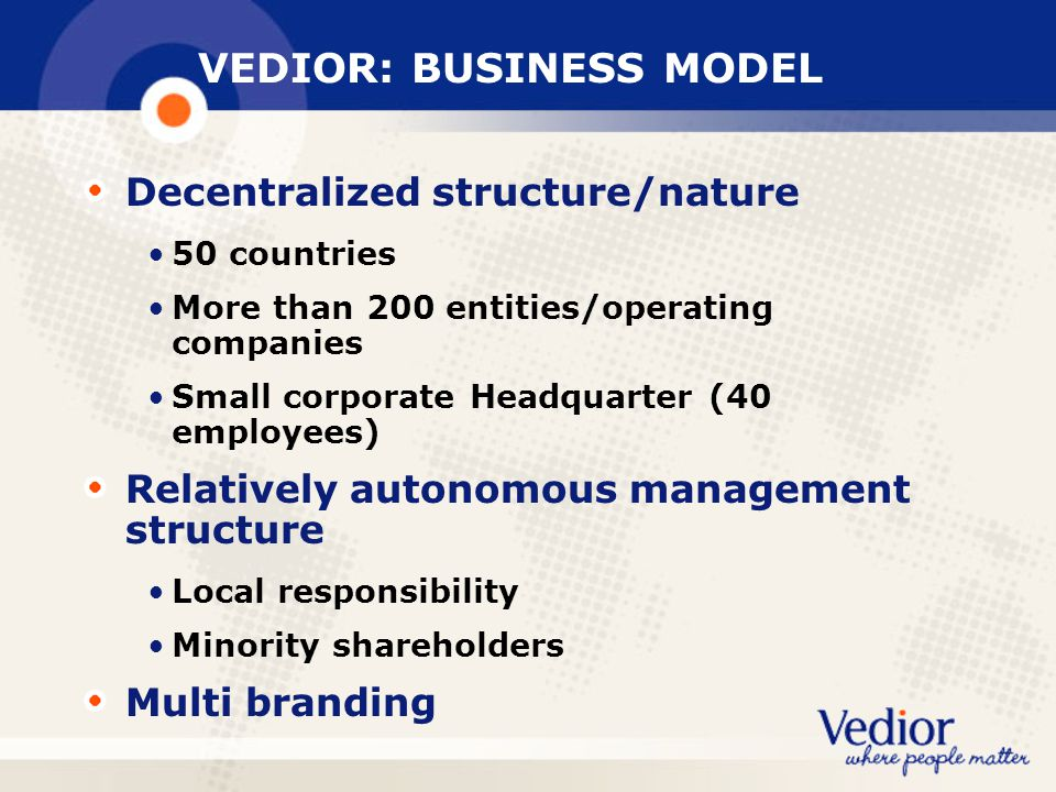 VEDIOR: BUSINESS MODEL Decentralized structure/nature 50 countries More than 200 entities/operating companies Small corporate Headquarter (40 employees) Relatively autonomous management structure Local responsibility Minority shareholders Multi branding
