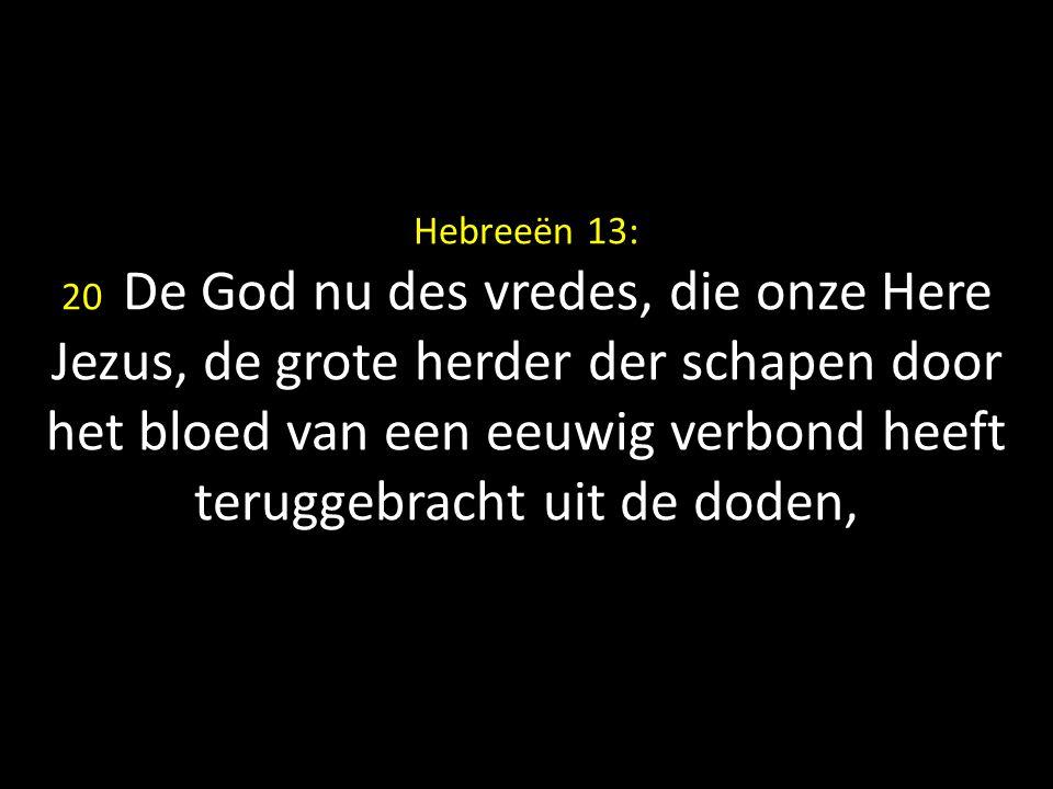 Hebreeën 13: 20 De God nu des vredes, die onze Here Jezus, de grote herder der schapen door het bloed van een eeuwig verbond heeft teruggebracht uit d
